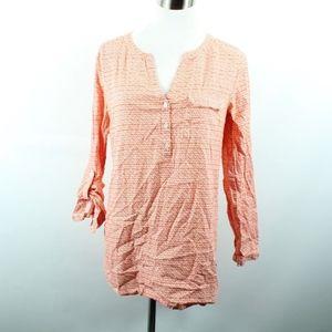 J Jill Roll Tab Sleeve Pullover Shirt XS Orange